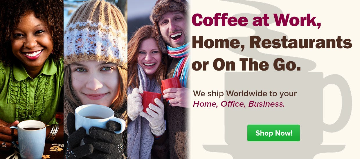 Shop My Coffee Supply, Free Shipping, Folgers K-cup Pods, White Bear Coffee, Starbucks, 4 Cup, Seattle's Best, Twinings Tea