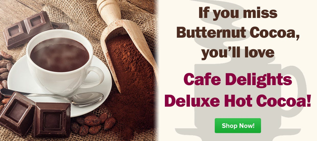Shop Butternut Hot Chocolate Cocoa Mix, Cafe Delight Deluxe Single Serve Packets.