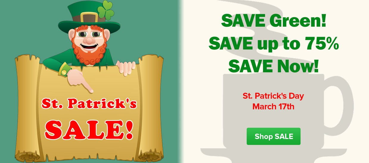 St. Patrick's Day Coffee Sale, White Bear, Single Cup Pods, Seattle's Best, Dunkin Donuts, Starbucks, Maxwell House, Folgers K-Cup, Cafe Bustello