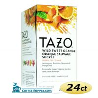 Tazo Wild Sweet Orange Tea 24 ct. Box | Herbal Tea, Lemon, Blackberry, Rose, Spearmint, Ginger, Orange Flavored Hot Tea Bags.