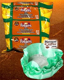 Decaffeinated Folgers Filter Pack Colombian Coffee | 1.40 oz. filters, 40 pots per case