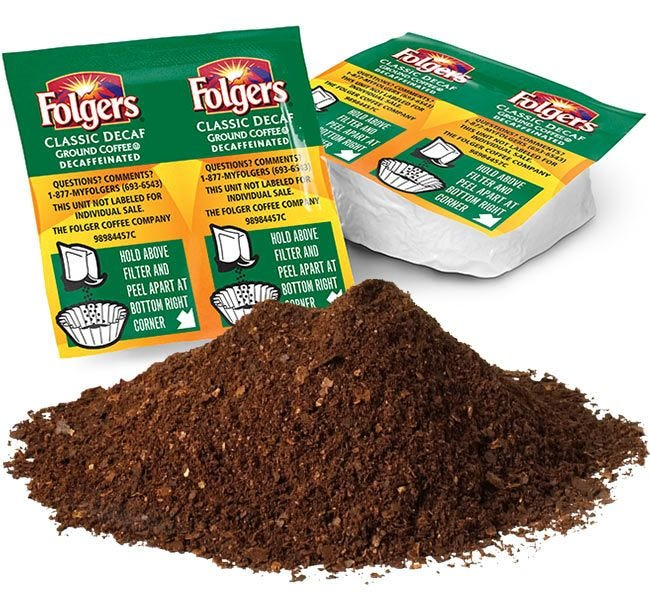 Folgers Classic Decaffeinated Ground Coffee Vackets   99.7% Caffeine Free .9 oz. Packet Brews 12 Cup Pot. 42 count Case.