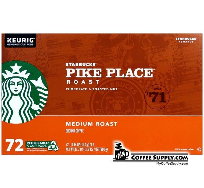 Starbucks Pike Place K-Cup 72 ct. Case, Medium Roast, Chocolate, Toasted Nuts Balanced Flavor.