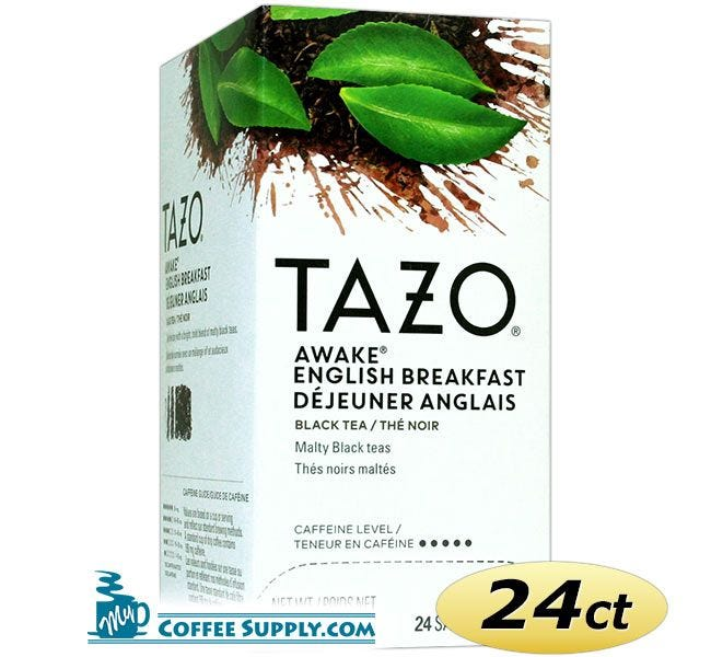 Tazo Awake English Breakfast Tea 24 ct. Box | Black Tea, Black Cherries, Caramel, Malty Flavored Hot Tea Bags.