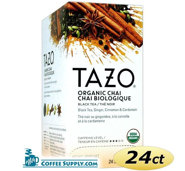 Tazo Chai Tea 24 ct. Box | Organic Black Tea, Spicy Cinnamon, Ginger, Cardamom, Clove, Star Anise Flavored Hot Tea Bags.