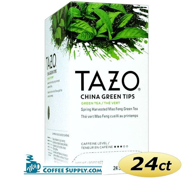 Tazo China Green Tips Tea 24 ct. Box | Green Tea, Spring Harvested Mao Feng Zhejiang China Green Tea Hot Tea Bags. Kosher.