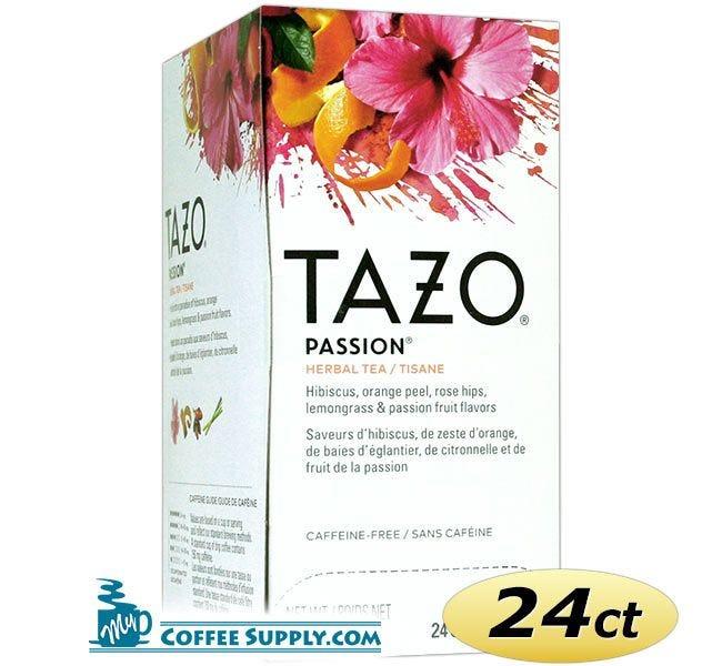 Tazo Passion Tea 24 ct. Box   Herbal Infusion Tea, Mango, Passion Fruit Flavored Hot Tea Bags.