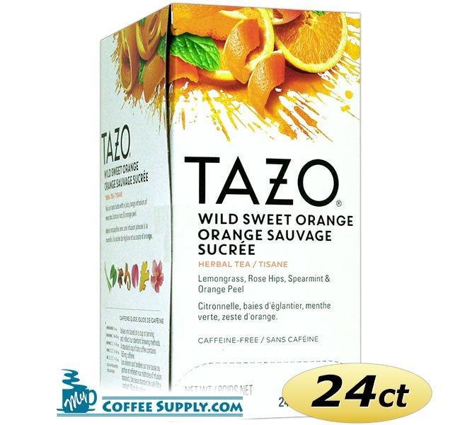 Tazo Wild Sweet Orange Tea 24 ct. Box   Herbal Tea, Lemon, Blackberry, Rose, Spearmint, Ginger, Orange Flavored Hot Tea Bags.