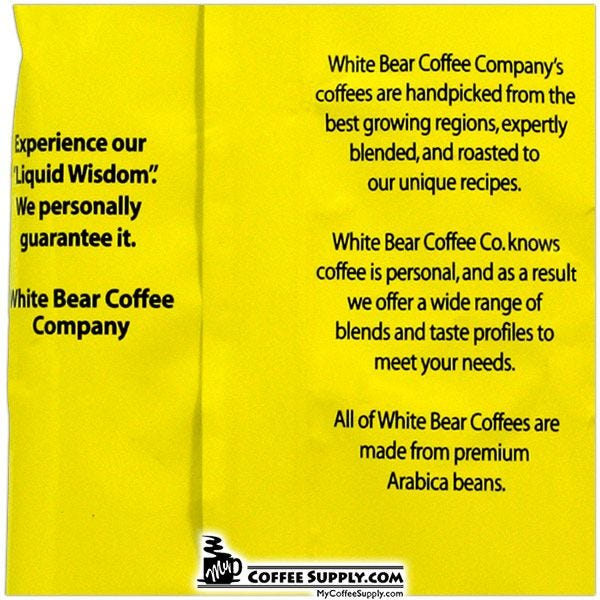 White Bear Hazelnut Flavored Coffee 20 / 2 oz. Case